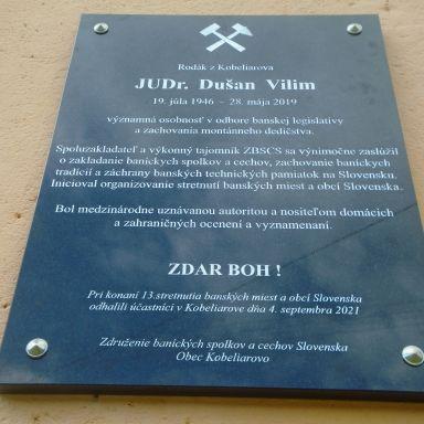 Odhalenie pamätnej tabule JUDr. Dušan Vilim