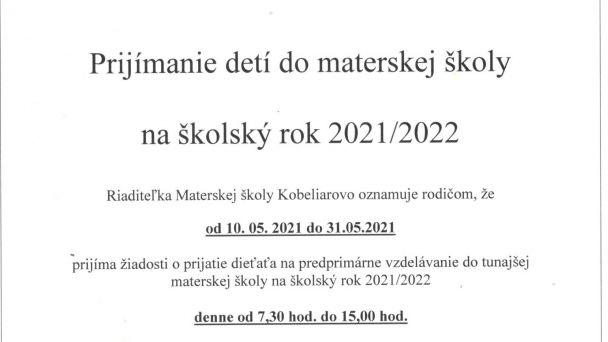Prijímanie detí do MŠ na šk. rok 2021/2022